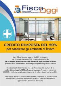 credito d'imposta sanificazione decreto cura Italia